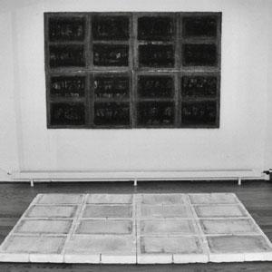 blaettergefaesse 2-teilig, 2000, installation, backsteine/oel auf papier, 150 x 220 cm, thumb