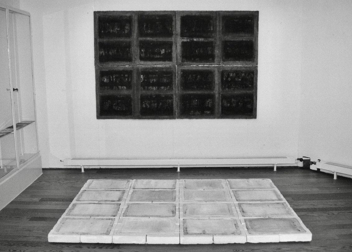blaettergefaesse 2-teilig  2000  backsteine/oel auf papier  150 x 220 cm