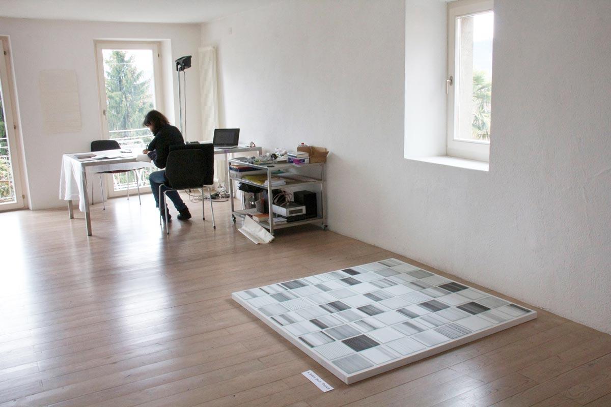 il diario della foschia 1-64 raumansicht 2011 tusche/folex/spiegelglas auf dibond 140 x 140 x 4 cm