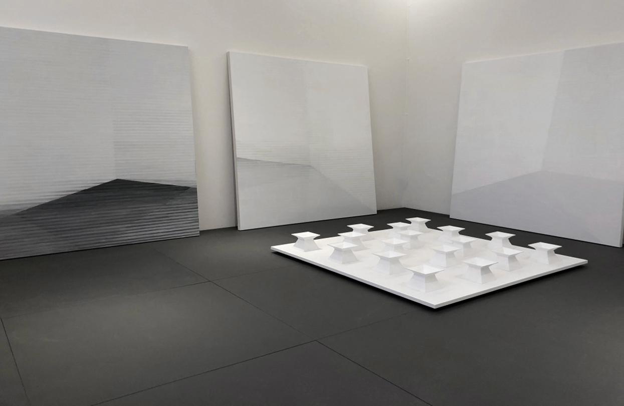 in räumen 1-17 2020 plexiglas/acryl auf holzträger 130 x 130 x 13 cm