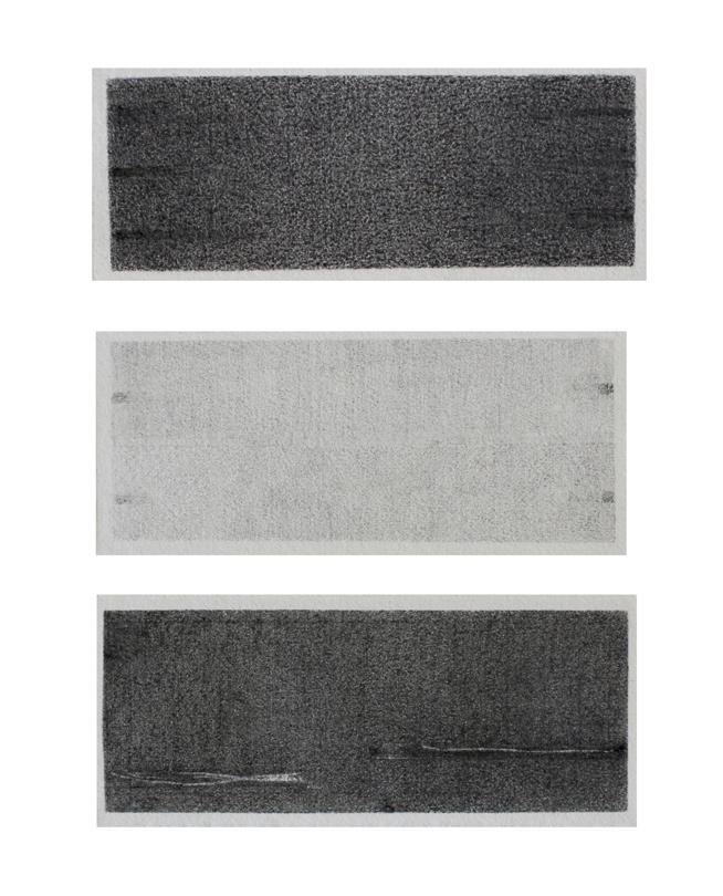 nachklang 3-teilig 2016 graphit auf bütten 27 x 66 cm