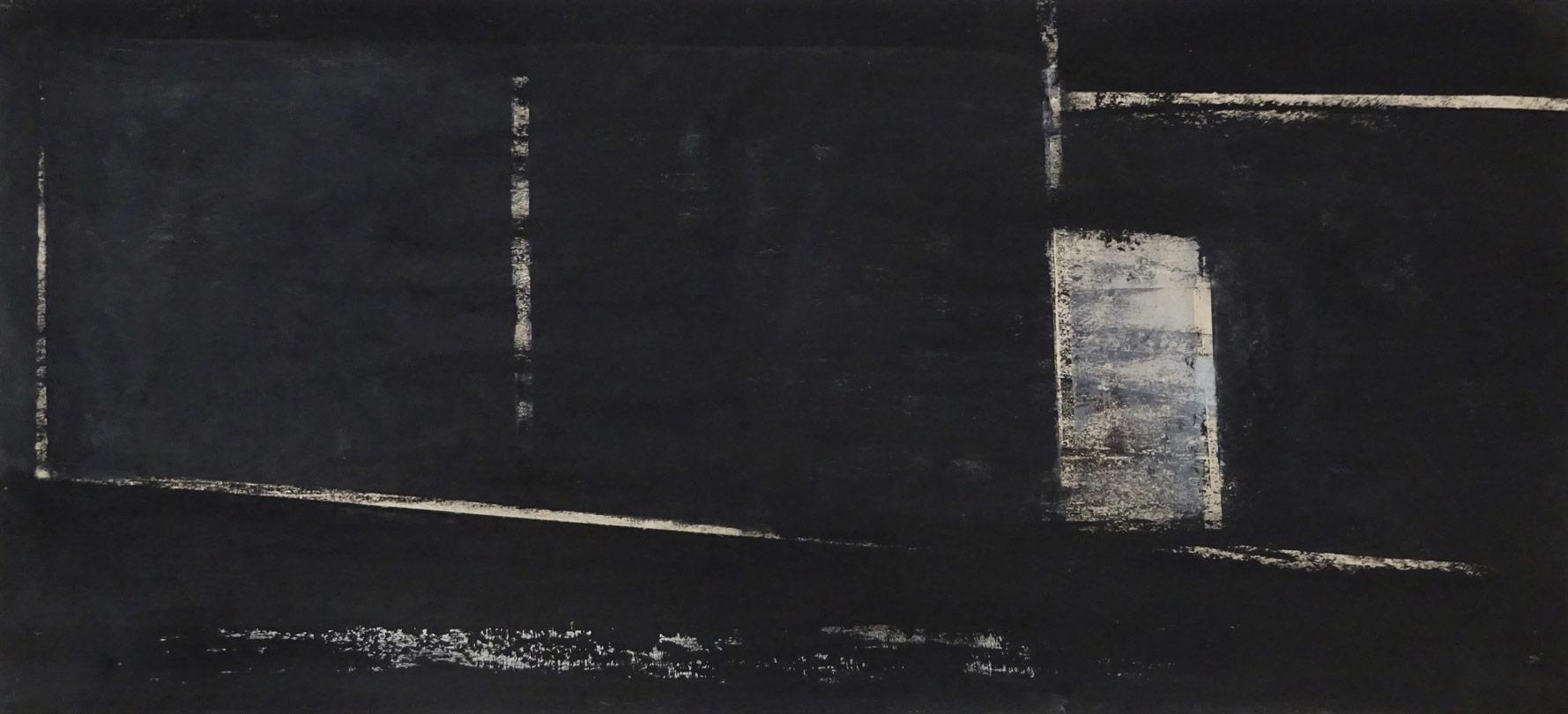 ohne titel  2021  oel/tusche auf papier  36,5 x 81,5 cm